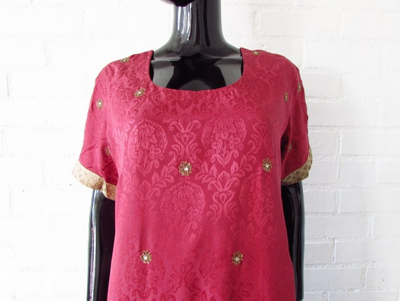 1970s dress Indian embroidered / brocade dress / … - image 8