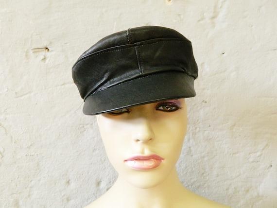 70s leather hat / vintage hat leather black / cap / leather cap / vintage hat, 1070s cap