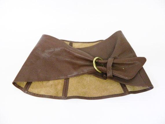 1980s belt leather brown wide / apron belt / vint… - image 2