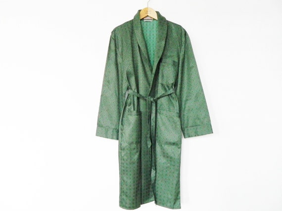50s morning coat men/vintage men's coat/morning coat vintage/Hugh coat 1950s/house coat green