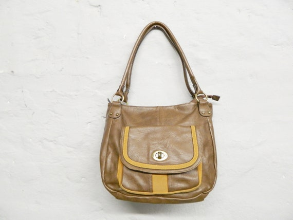 Faux leather bag/90s bag/handbag brown/vintage shopper/shoulder bag