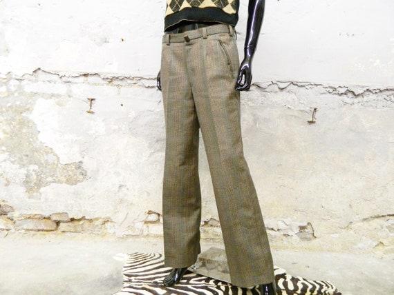 70s boyfriend pants / vintage pants plaid / plaid
