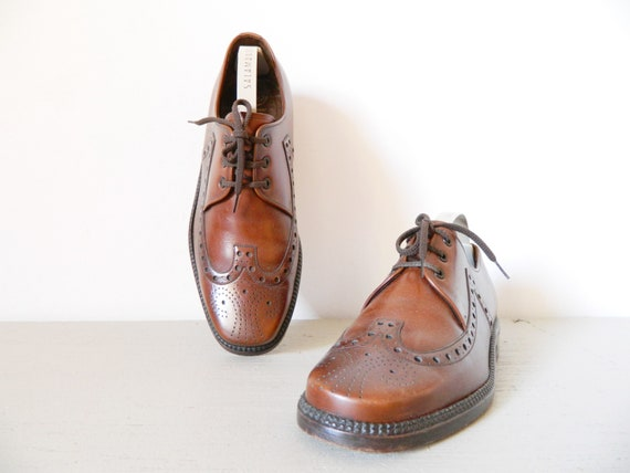 Salamander Shoes leather/Men's shoes brown leather/leather Shoes/1970 's Shoes/vintage men shoes/shoes leather Brown