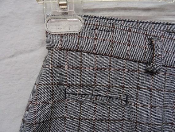 Vintage pants plaid grey brown virgin wool / floo… - image 2