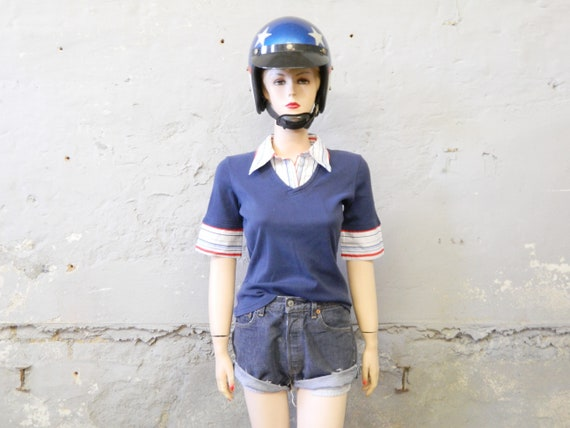 70s shirt/vintage blouse/shirt blue/sweater/t-shirt cotton