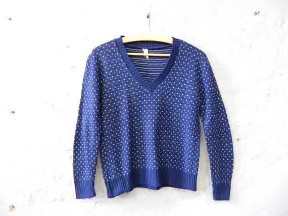 70s sweater / vintage sweater / v-pullover / sweater blue with pattern