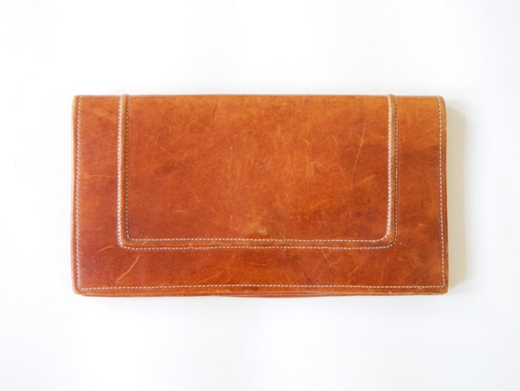 Leather clutch/leather handbag/vintage handbag/leather clutch/70s clutch brown/brown bag
