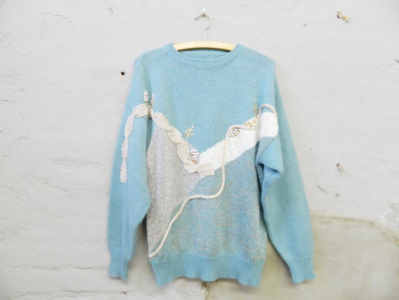 80s sweater/vintage sweater blue/sweater beads embroidered/blauer Winter sweater