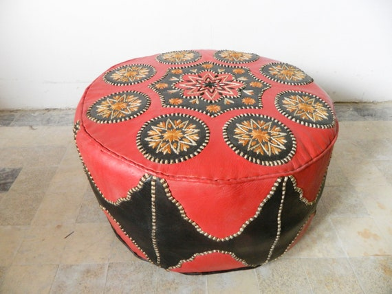 1970s seat pouf/vintage pouf/leather seat cushion 70s/leather chair/floor cushion
