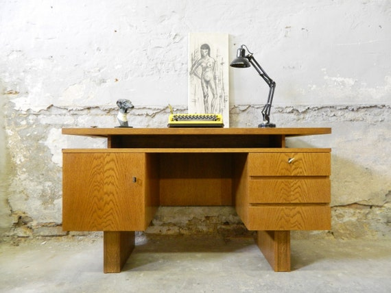 1960s desk/office table/60s table walnut/vintage desk/office