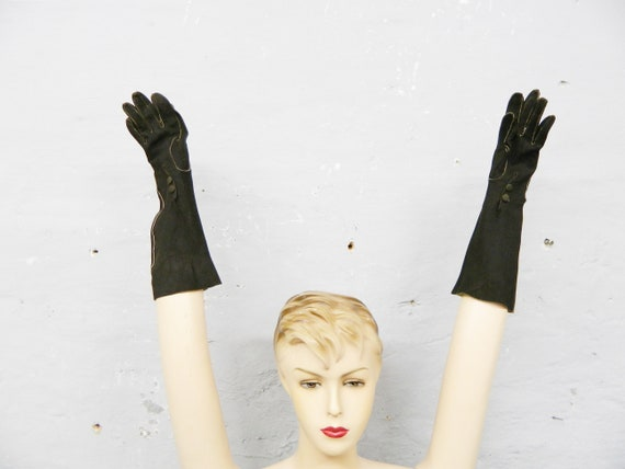 50s gloves suede / long handchuhe / suede gloves b