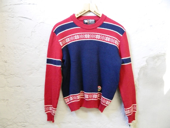 60s sweater/blue sweater/men's sweater/60s men's sweater red blue/knitted sweater men