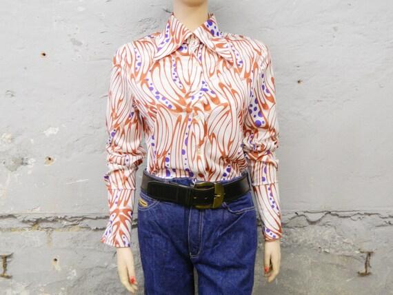 70s blouse/vintage blouse/top 70s/blouse lace collar/seventies blouse