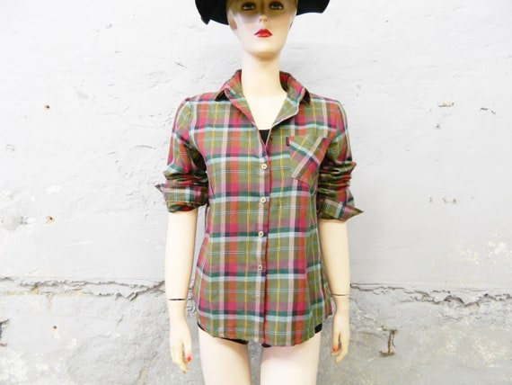 Vintage blouse / karob luse / 70s blouse plaid / farmer blouse