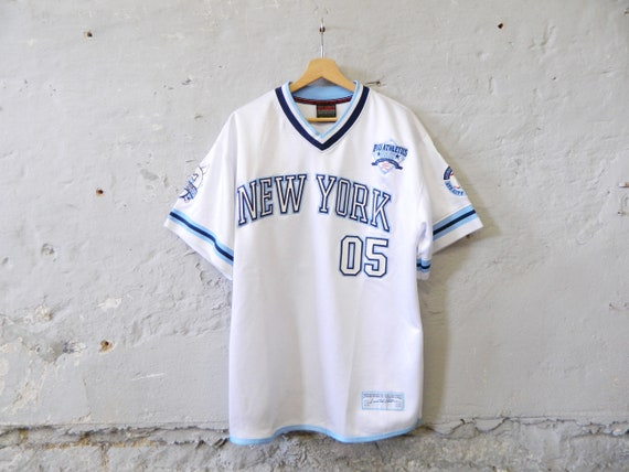 Vintage Shirt Men/Baseball Shirt/Hip Hop Shirt/Men Shirt White Blue/oversize Shirt