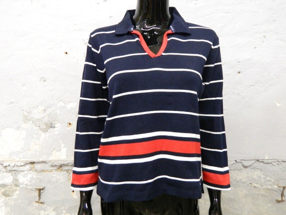 Shirt blue red white lows / sweater with collar /