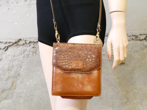 70s bag/handbag leather/leather bag/vintage bag/shoulder bag brown/Small leather bag