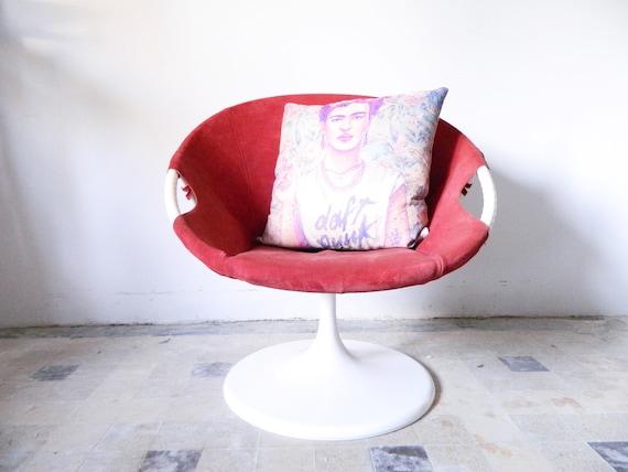 60s armchair/vintage armchair leather/Tulpenfuß armchair/leather armchair/60s armchair red