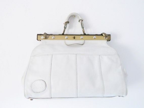 70s Bag/leather bag/vintage bag/bag white/doctor bag/1970 's bag leather/white handbag