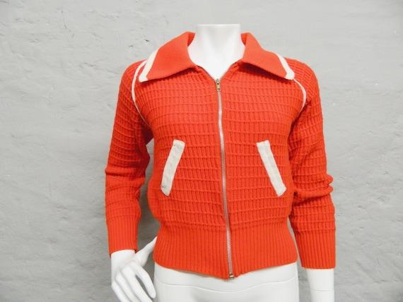 70s cardigan/jacket orange white/vintage jacket/cardigan/cult cardigan