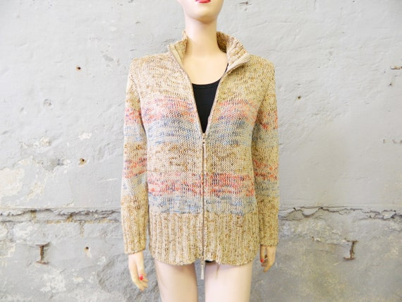 80s cardigan/jacket Olsen/cardigan vintage/jacket colorful zip