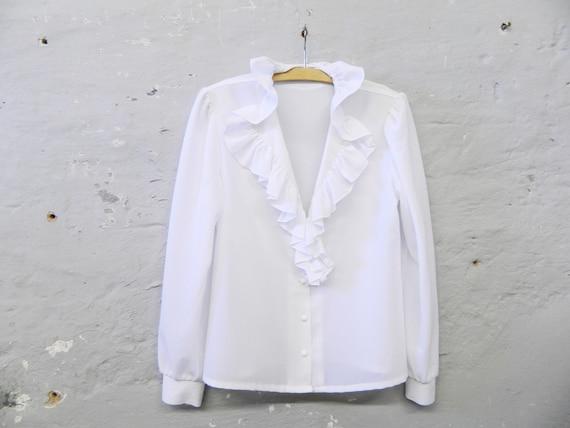 70s ruffle blouse / white blouse / vintage blouse