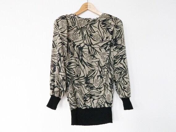 70s blouse Golden Gate/vintage blouse/long blouse/blouse green black/knit bundle top