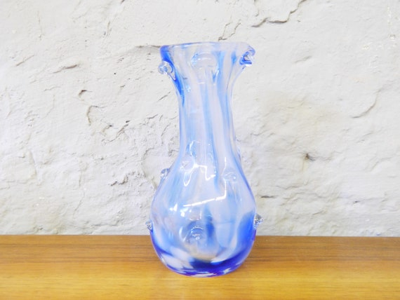 Mouth-blown vase/glass vase/70s vase blue/blue glass vase Italy