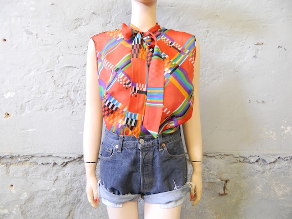 70s blouse red/vintage blouse without arm/slip blouse/blouse with scarf