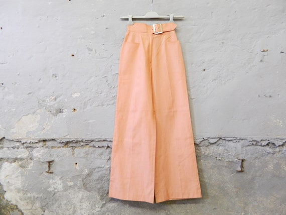 70s pants/vintage pants/batting pants/pants orange/summer pants