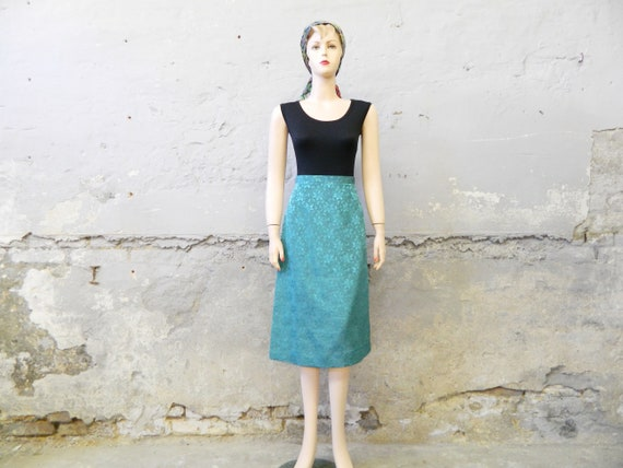 70s skirt green/glossy skirt/vintage skirt slashed/summer skirt