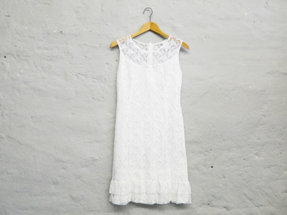 Vintage Dress/80s Dress white/Dress lace/Midi dress/Dress Registry office