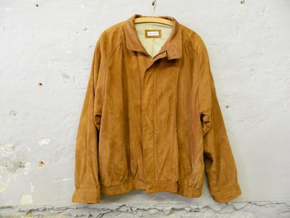 Men's leather jacket 80s / vintage jacket leather light brown / leather jacket men brown Boncetti