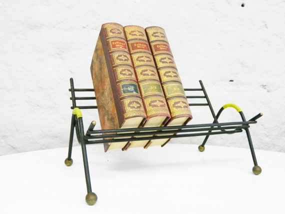 50s Book bank/Books bank/Bookends/50s book prop/vintage Stand metal
