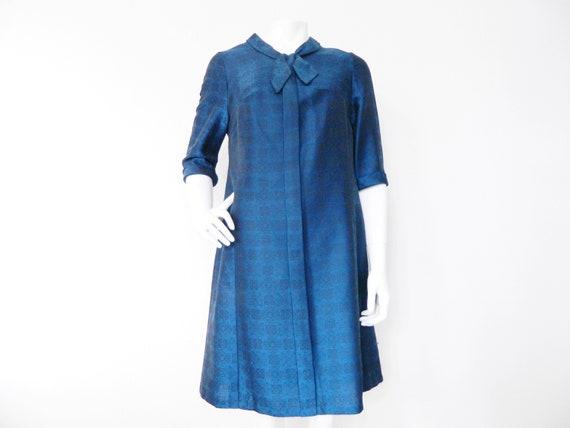 1950s dress / haute couture dress 50s / blue dress / 50s dress blue shiny / vintage dress