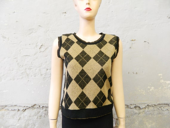 Pullunder black gold/vintage vest/70s top/vintage pullunder diamond/knitted top
