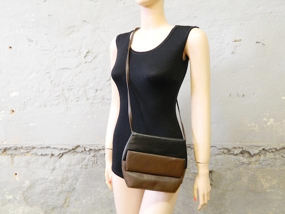Leather bag/vintage bag/70s handbag/shoulder bag/bag brown black leather