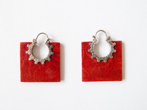 70s earrings/vintage jewelry/earrings square/boho earrings/hanging earrings red silver