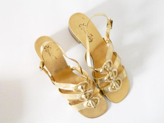 70s Sandals Gold/vintage sandals/vintage evening shoes/party/vintage shoes/shoes gold/1970 's Shoes