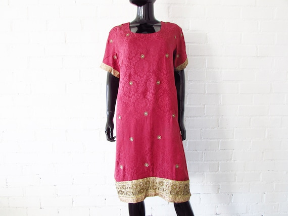 1970s dress Indian embroidered / brocade dress / … - image 1