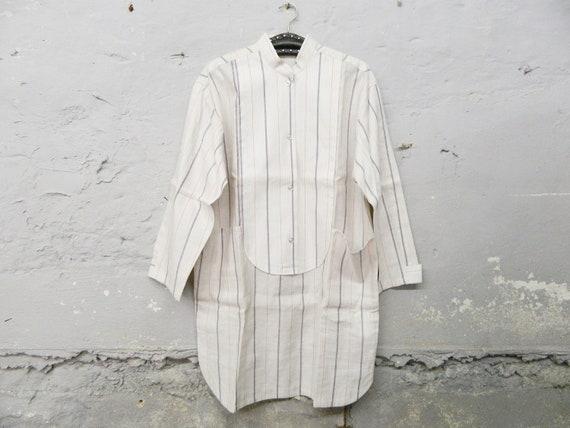 Linen shirt man / vintage shirt long linen / men's