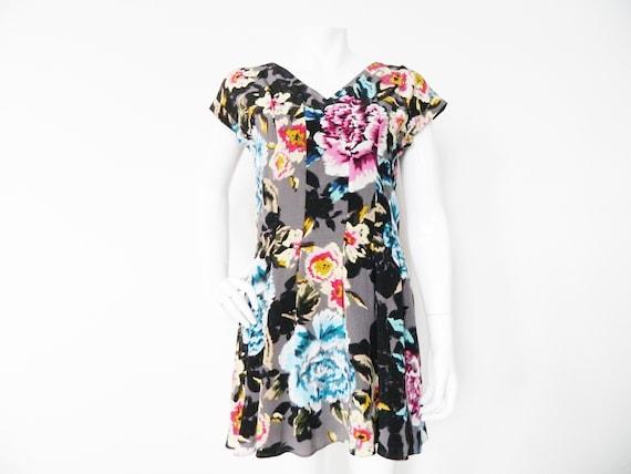 Ted Baker 80s dress silk/Baker dress/Vintage dress/silk dress/dress Ted Baker/1980 's Dress flowers/flower Dress