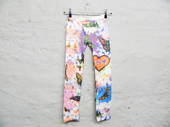 80s leggings/vintage leggings/colorful pants/stretch pants/1980s pant/gym pants