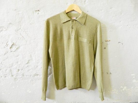 50s sweater / men's sweater virgin wool / vintage sweater men / sweater green / fine knit sweater / rockabilly