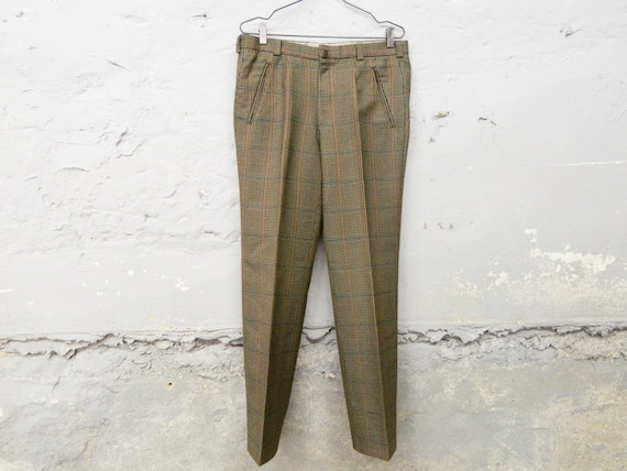 1970s men's pants / vintage pants man plaid / plai