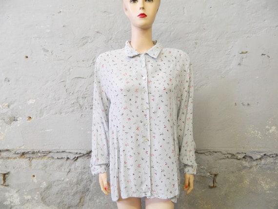80s blouse / long blouse / vintage tunic / floral blouse light blue
