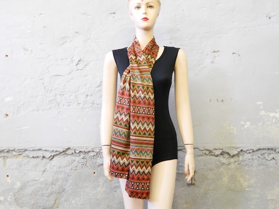 70s scarf/vintage scarf/unisex scarf/summer scarf/zigzag pattern/scarf Dontello Made in Italy
