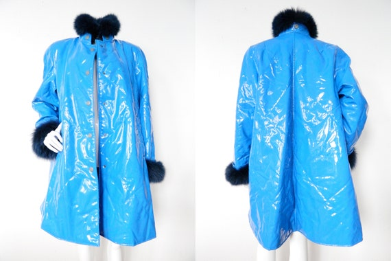 1970 's British Golf Royal Club plastic coat/rave coat fur/vintage raincoat/fur coat/British Raincoat/70s coat