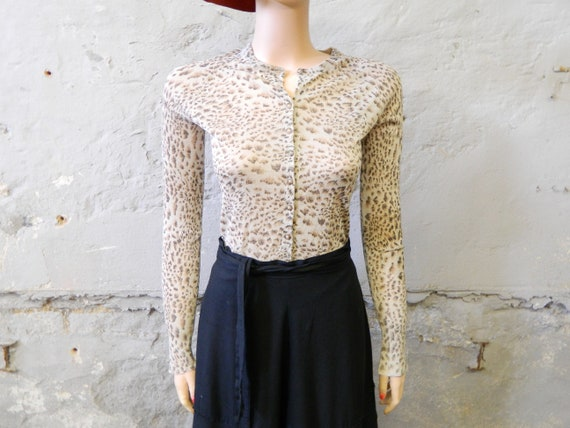 80s pulli/vintage sweater tigered/cardigan brown/vintage jacket