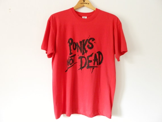 Men's shirt punk/men shirt red writing/shirt cotton punks not dead